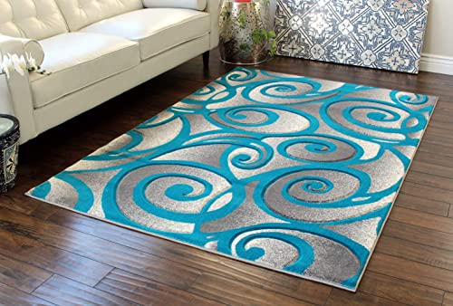 Masada Rugs, Grey White Turquoise Modern Woven Area Rug, Hand Carved 5 Feet X 7 Feet, Turquoise