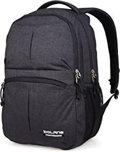 BOLANG College Backpack for Men Water Resistant Travel Backpack Women Laptop Backpacks Fits 16 inch Laptop Notebook 8459 (Black)