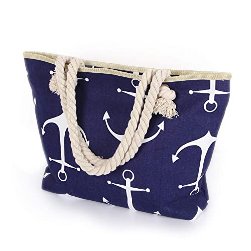 Delindo Lifestyle Strandtasche XL mit Reißverschluss auch als große Badetasche mit Kordel Tragegriffen