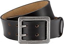 Eg-Fashion Herren Jeansgürtel aus Büffelleder stylische Doppeldorn-Schließe in 4,5 cm Breite - Massige Schnalle im Used Look