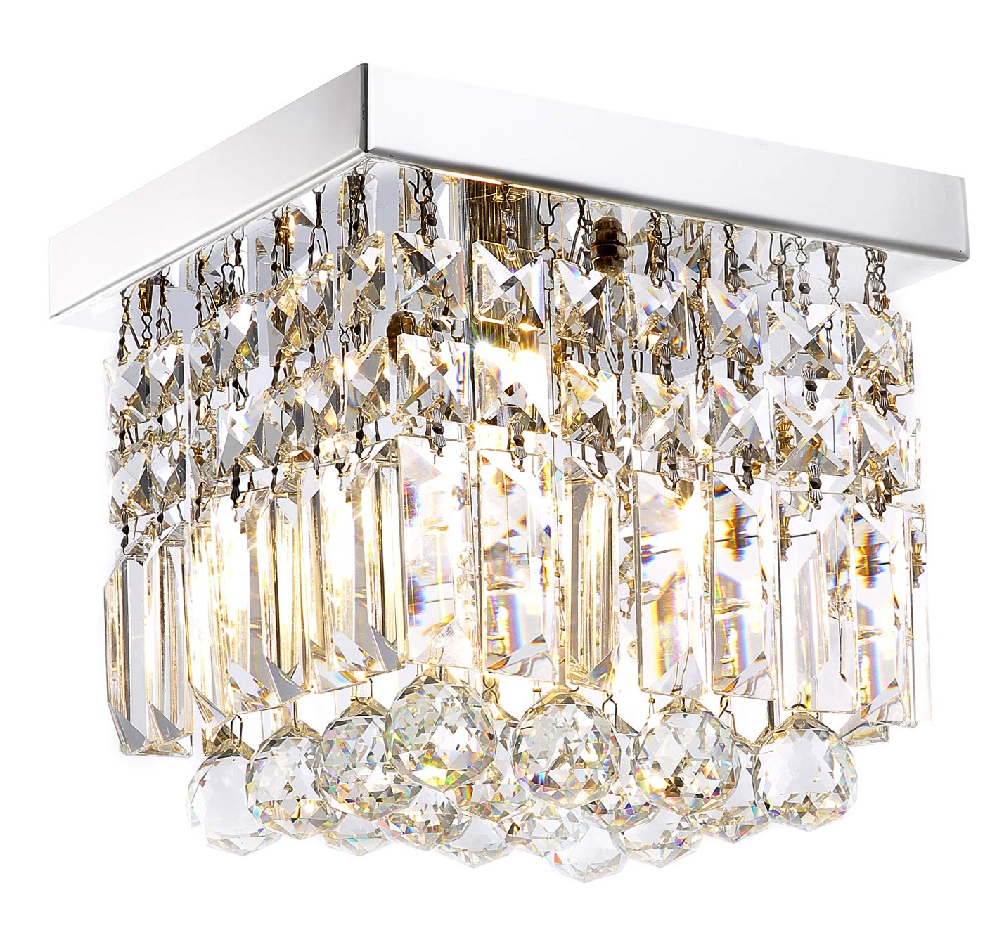 Moooni Hallway Crystal Chandelier 1 – Light W8 Mini Modern Square Flush Mount Ceiling Light Fixture