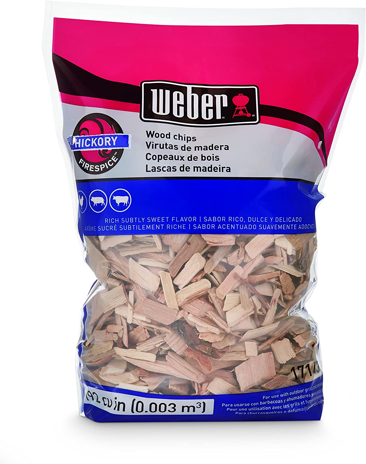 Weber Stephen Products 17143 Hickory Wood Chips, 192 0.003 cu, 2 lb