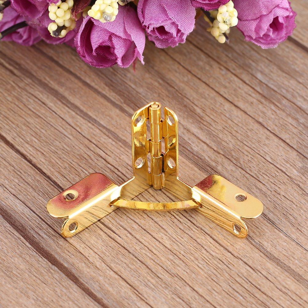 20 st/ücke Scharniere TOPINCN Spring Hinge Fr/ühling Scharnier Mini Scharniere Dekorative Holz Fall Box Latch Lock mit crews Gold