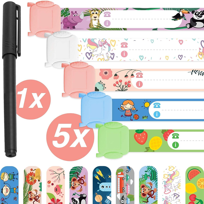 bolígrafo /· pulsera de seguridad /· Resistente al agua /· reutilizable /· Pulsera SOS /· niñas Pulsera de emergencia para niños /· 5 piezas