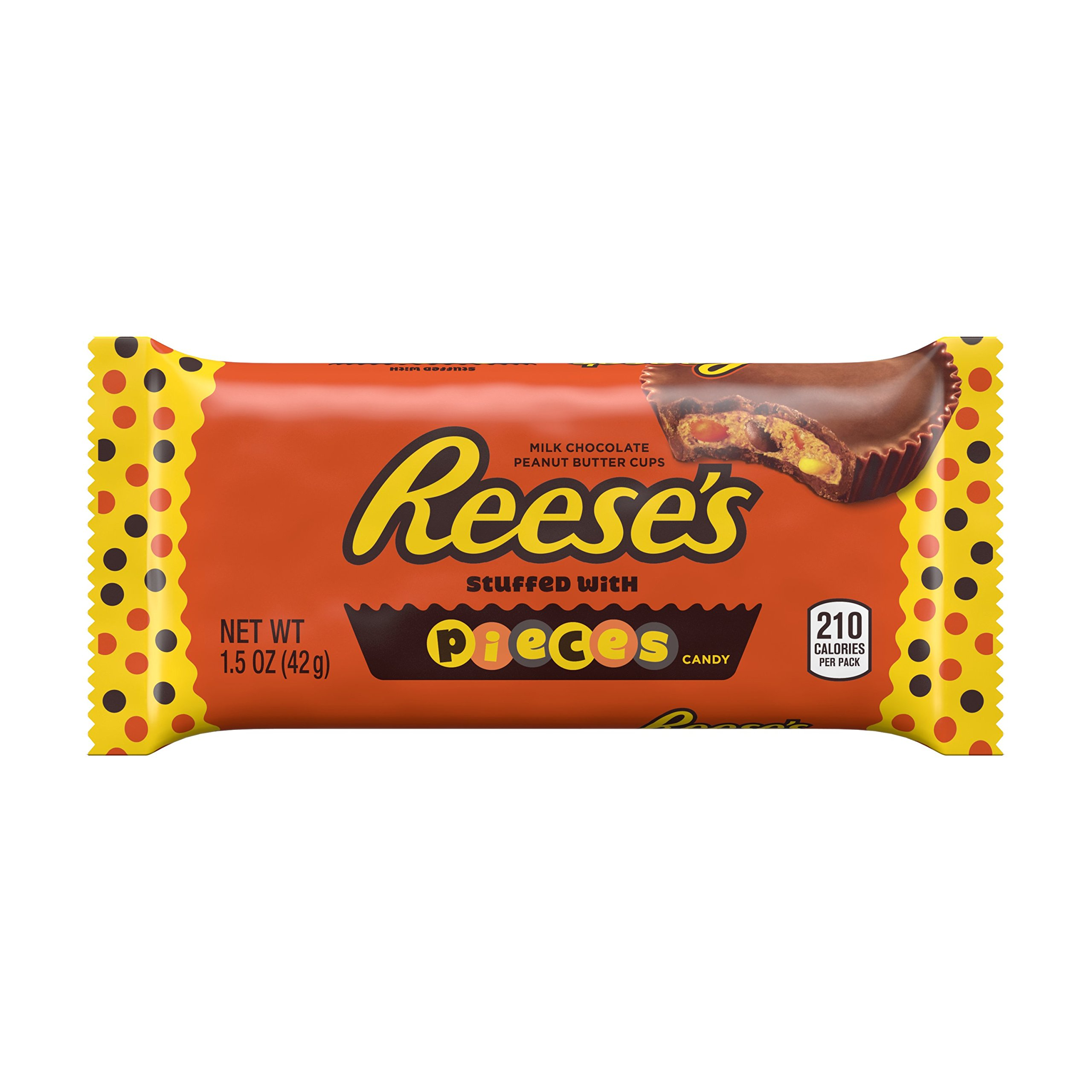 REESE'S Peanut Butter Cups, Chocolate Candy stuffed with Reese's Pieces (Pack of 24)