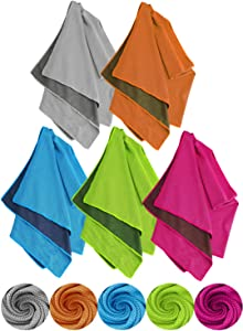 """ELIATER 5 Packs Cooling Towel (40""""x12""""), Breathable Chilly Neck Ice Towel, Microfiber Towel for Yoga, Sport, Running, Gym, Workout, Camping, Fitness, Workout & More Activities"""