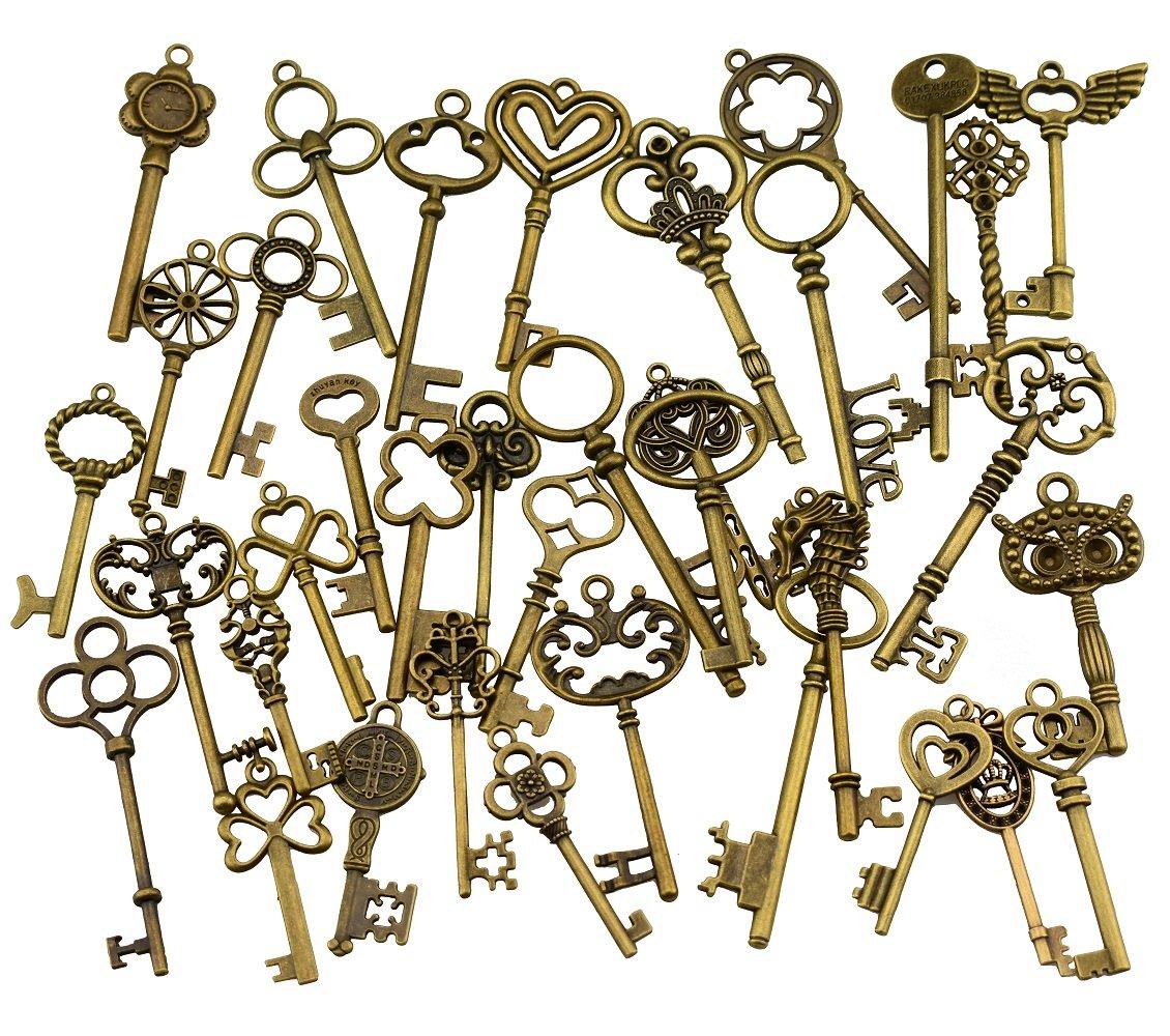 (Set of 30) Mixed Vintage Old Look Skeleton Keys Fancy Heart Bow Necklace Pendants (Black) EVINIS