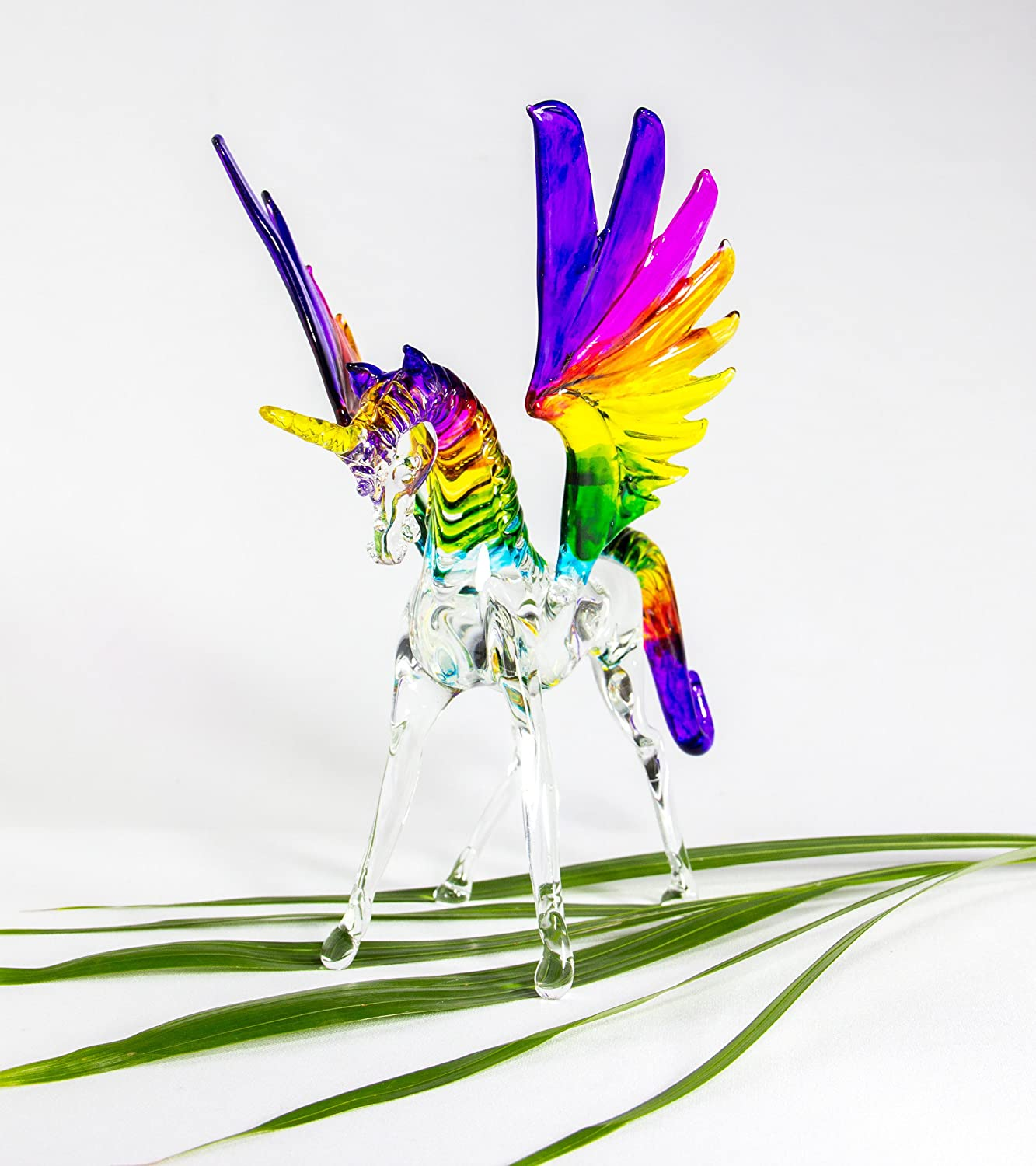 Mexicolour Unicorn Handcrafted Blown Glass Horse Pegasus Figurine Sculpture Rainbow Colors LGBT