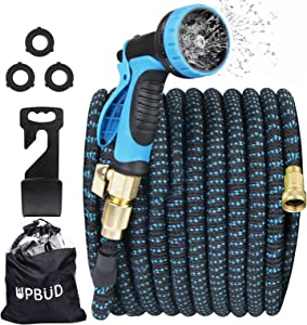 Upbud 100ft Garden Hose Expandable Set, Flexible Water Hose with 10-Way Spray Nozzle, Durable Layers Latex Core with 3/4