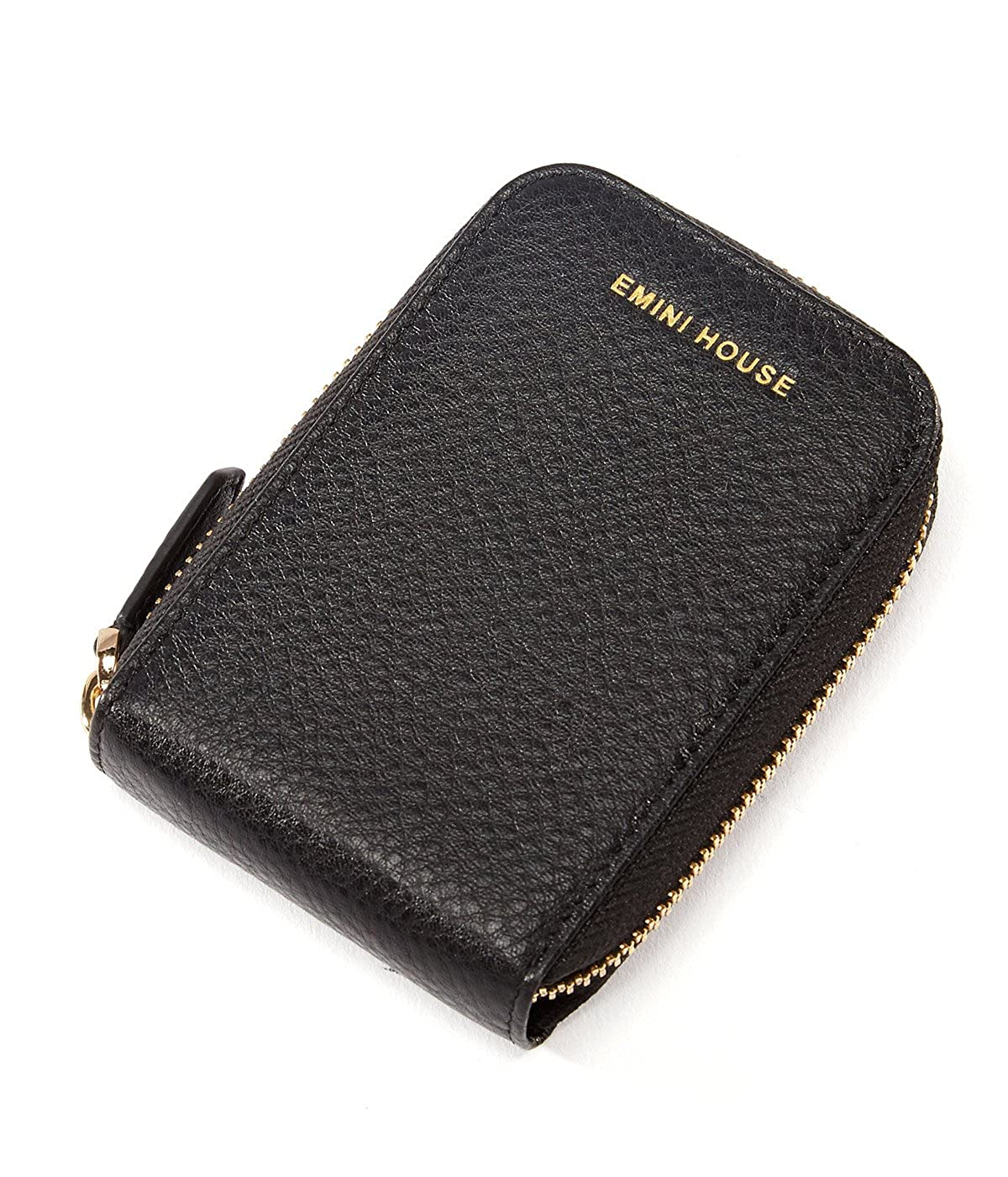 Emini家本革クレジットカードホルダージッパー開閉大容量カードケース  ブラック B071SFR6WK