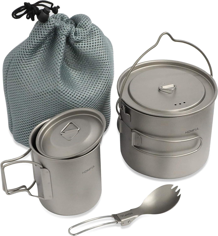 HOMFUL Camping Cookware Titanium Cooking Set,1100ML/420ML Camping Pots,Cup,Mug,Titanium Spork with Mesh Bag for Backpacking,Hiking,Picnic