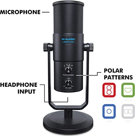 Amazon.com: M-Audio Uber Mic | USB Profesional Micrófono con ...
