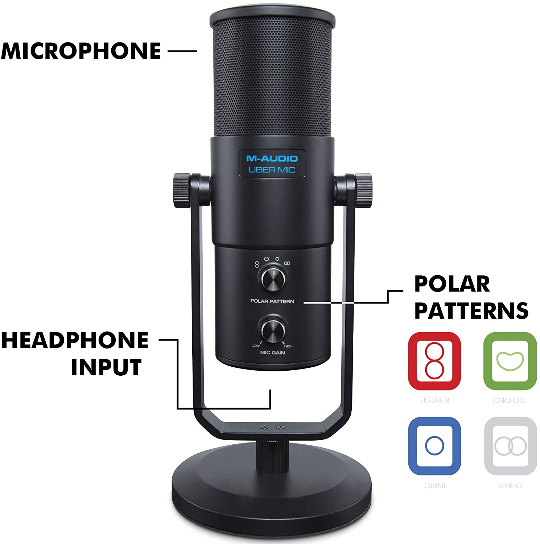 M-Audio プロ用 USB 高品質 コンデンサーマイク 4種類の指向性【カーディオイド、双指向性、無指向性、ステレオ】 ヘッドフォン出力搭載 UBER Mic   B0767N58ZY
