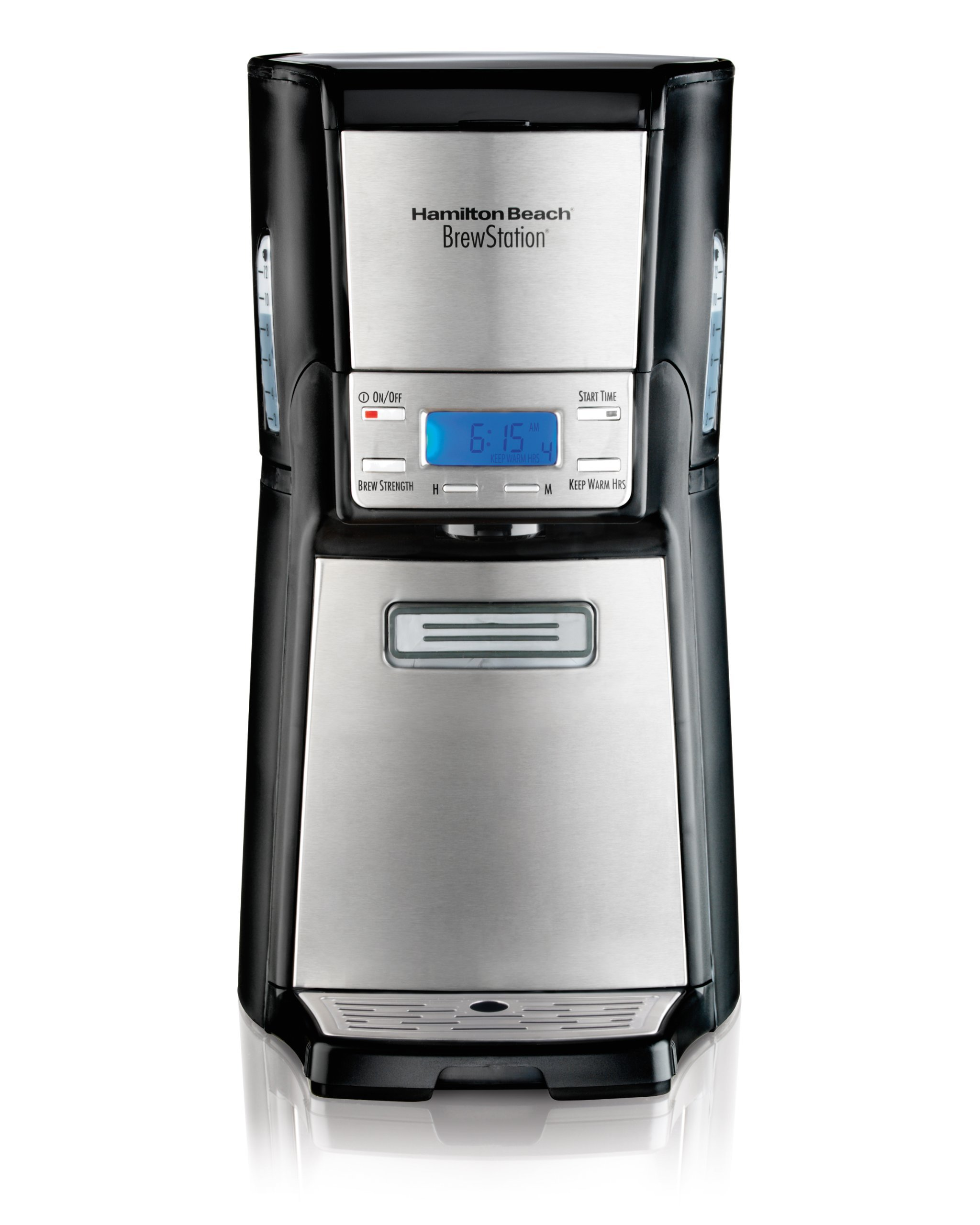 Hamilton Beach (48465) Coffee Maker with 12 Cup Capacity & Internal Storage Coffee Pot, Brewstation, Black & Stainless