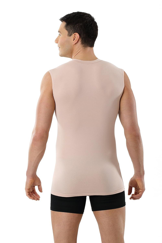 Albert Kreuz V-Unterhemd unsichtbar Business Herrenunterhemd aus Stretch- Baumwolle ohne Arm Hautfarbe Nude: Amazon.de: Bekleidung