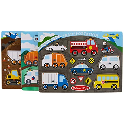 Melissa & Doug Wooden Peg Puzzles Set - Construction Site, Transportation, and Vehicles: Melissa & Doug: Toys & Games