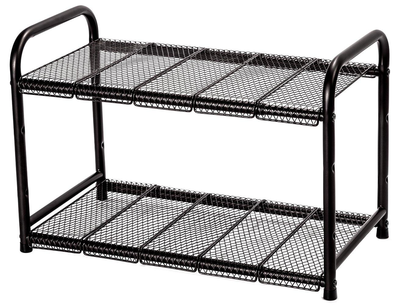 STORAGE MANIAC Under Sink 2 Tier Adjustable(Width&Height) Shelf Organizer 10 Removable Steel Panels, Bronze