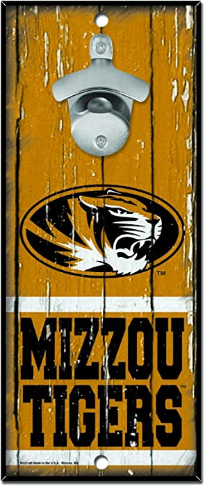 "WinCraft NCAA Missouri Tigers Wood Bottle Opener Sign, 5"" x 11"", Multicolor"