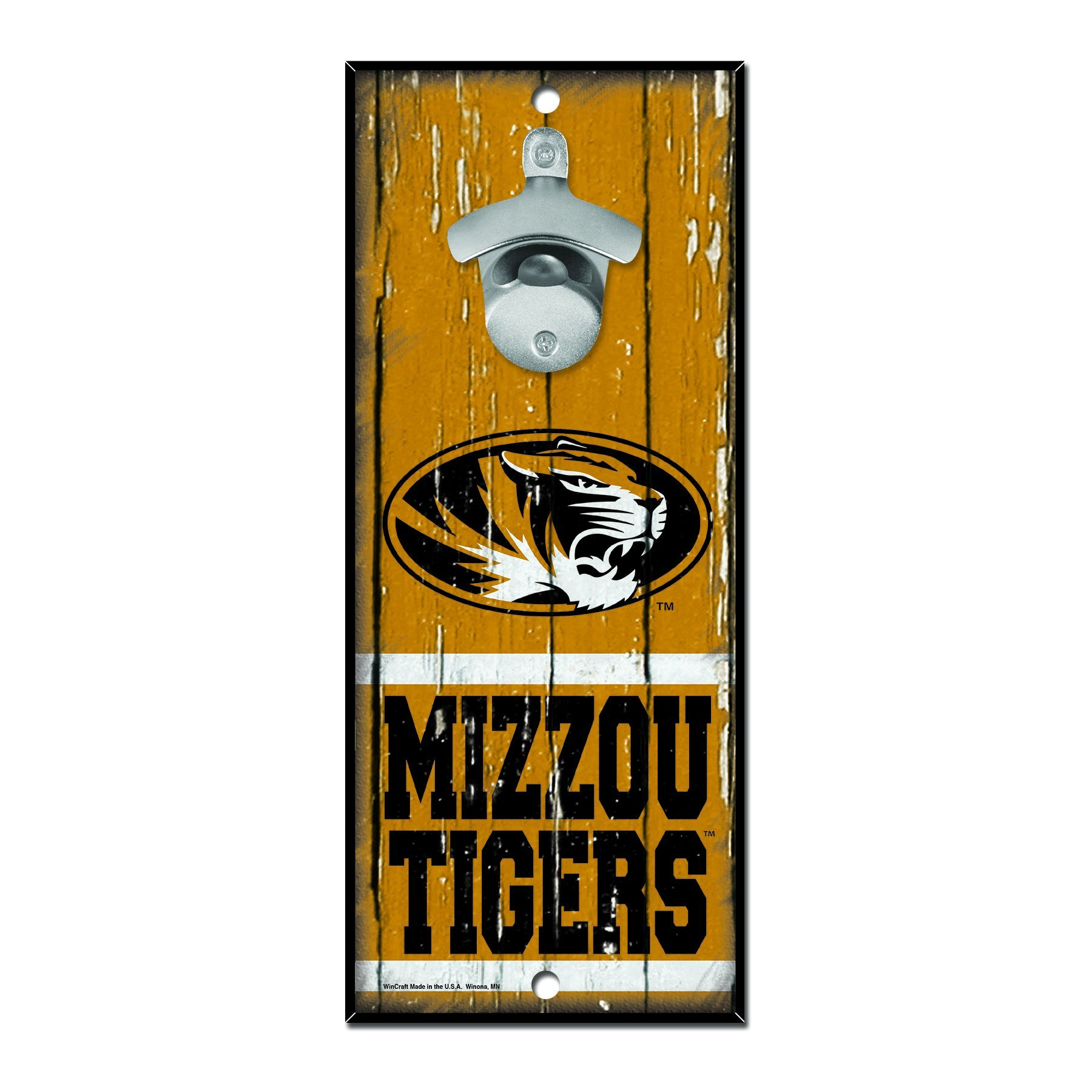 WinCraft NCAA Missouri Tigers Wood Bottle Opener Sign, 5'' x 11'', Multicolor