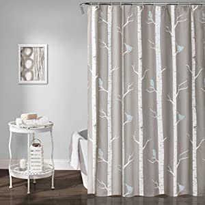 "Lush Decor Bird on The Tree Shower Curtain, 72"" x 72"", Gray/Blue"