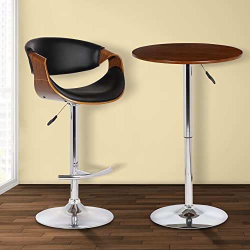 Armen Living Butterfly Swivel Adjustable Barstool in Black Faux Leather and Walnut Wood Finish