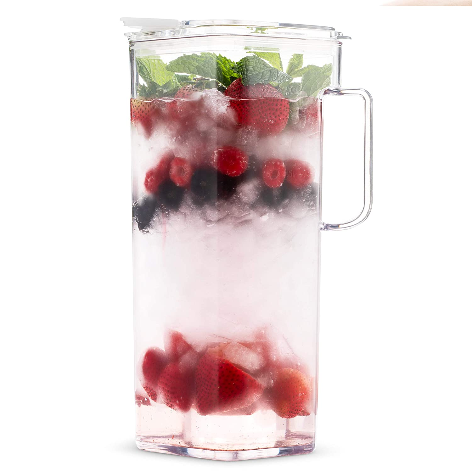 77 Oz Sangria /& Milk Ice Tea Airtight Komax Clear Large Tritan Pitcher with Lid Juice 2.4 Quart Square Shape Water Pitcher BPA Free Full Capacity Jug Lemonade | Great Carafe for Water