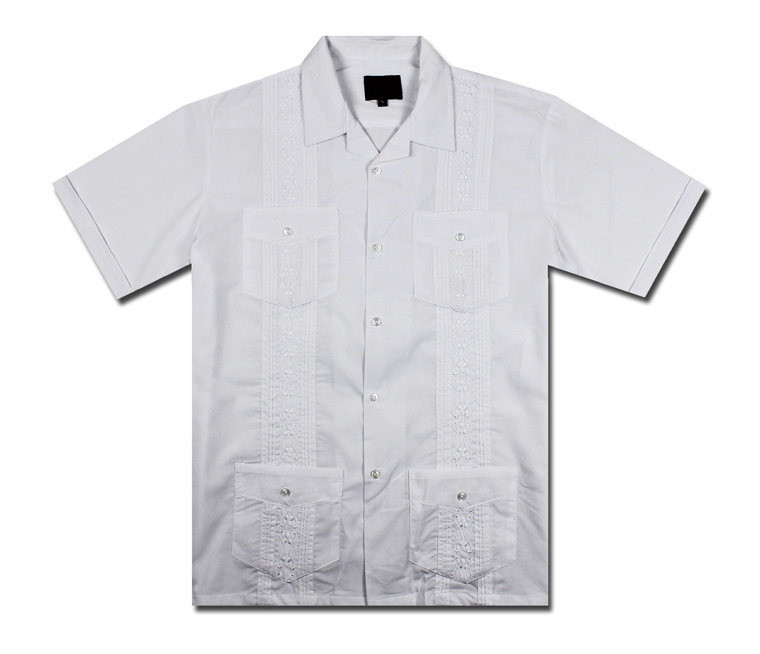 Maximos by R & B New Guayabera Kids Boys Cuban Latino Style Wedding Button Down Dress Shirt (2, White)