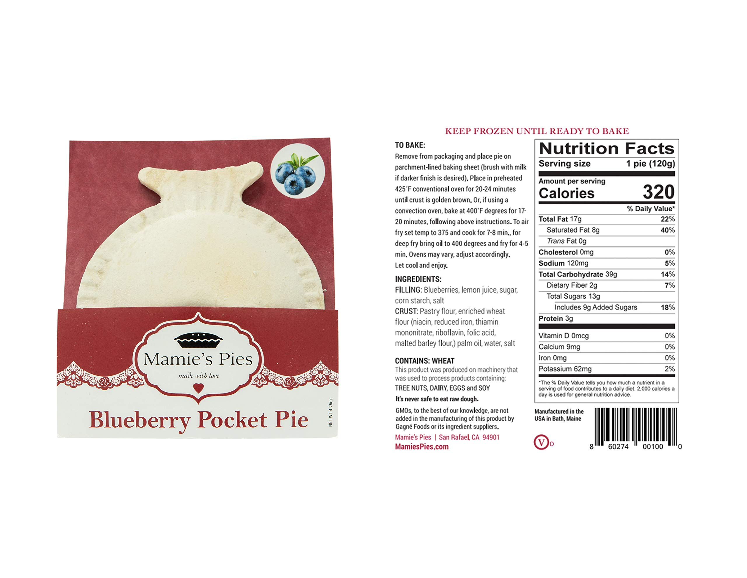 Mamie's 12 Pack Melt-in-Your-Mouth Single Serving Blueberry Pies, Individually Packaged 4.5oz Pocket Pies, Preservative Free, Shipped Frozen and Ready to Bake, Made in USA. by Mamie's Pies (Image #5)