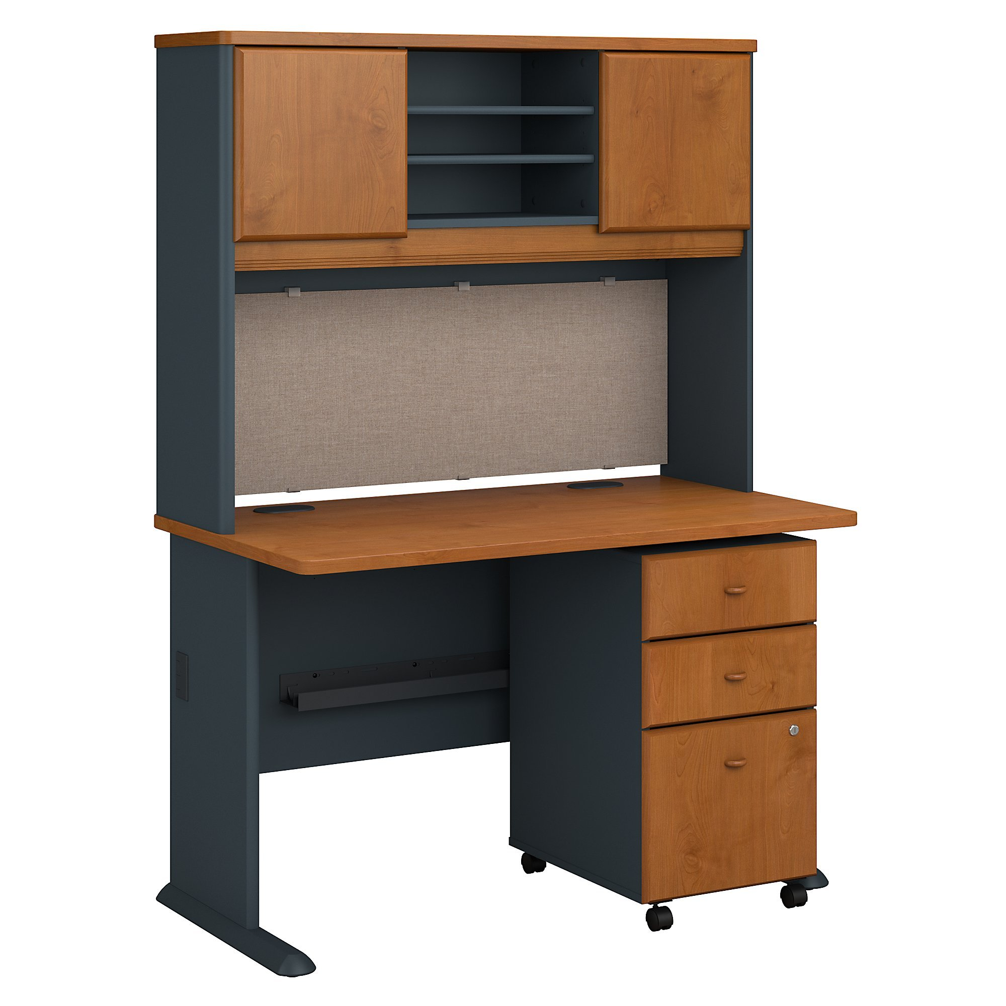 Series A 48W Desk with Hutch and Mobile File Cabinet in Natural Cherry and Slate by Bush Business Furniture (Image #2)