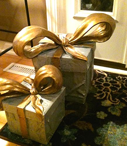 Indoor, Outdoor Decorative Christmas Holiday Present, Packages, Ribbons, Bows, Hand Sculpted Gifts