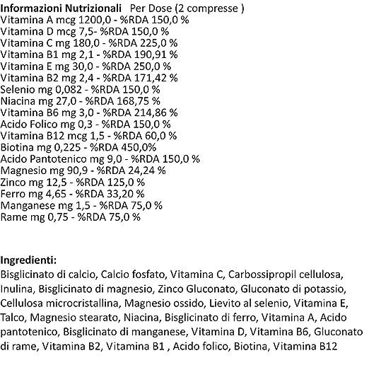 Vitaminas, Minerales | Integrador Multivitamínico y Multimineral | 60 tabletas | Con vitamina A, C, D, B, E, zinc y selenio | Para hombres y mujeres ...