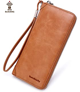 dcb1908b61ded Damen Geldbörse Echt Leder Langes Portemonnaie RFID Schutz Geldbeutel viel  Platz