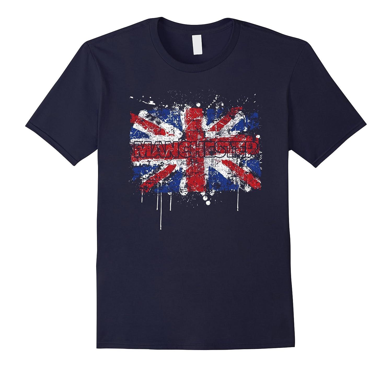 Manchester England British UK Flag T-Shirt-Vaci