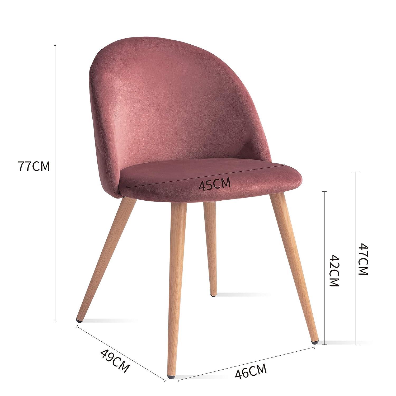 Telas Mc Haus Azul Acero Pack 2 sillas SOFI dise/ño nordico Salon Comedor 49x46x77cm