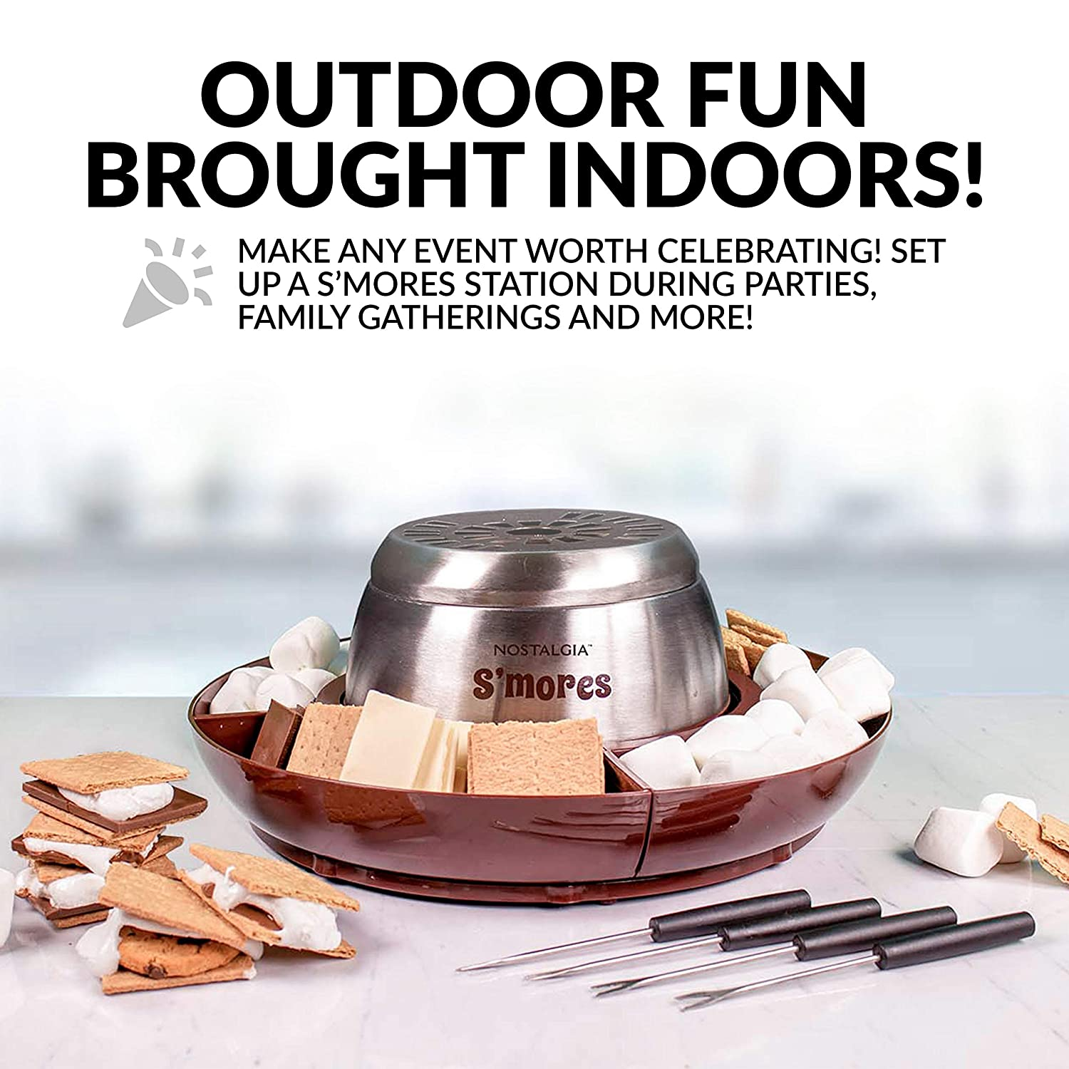 Brown Nostalgia LSM400 Electric Stainless Steel SMores Maker