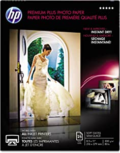 HP CR671A Premium Plus Photo Paper, 80 lbs, Soft-Gloss, 8-1/2 x 11, 25 Sheets/Pack