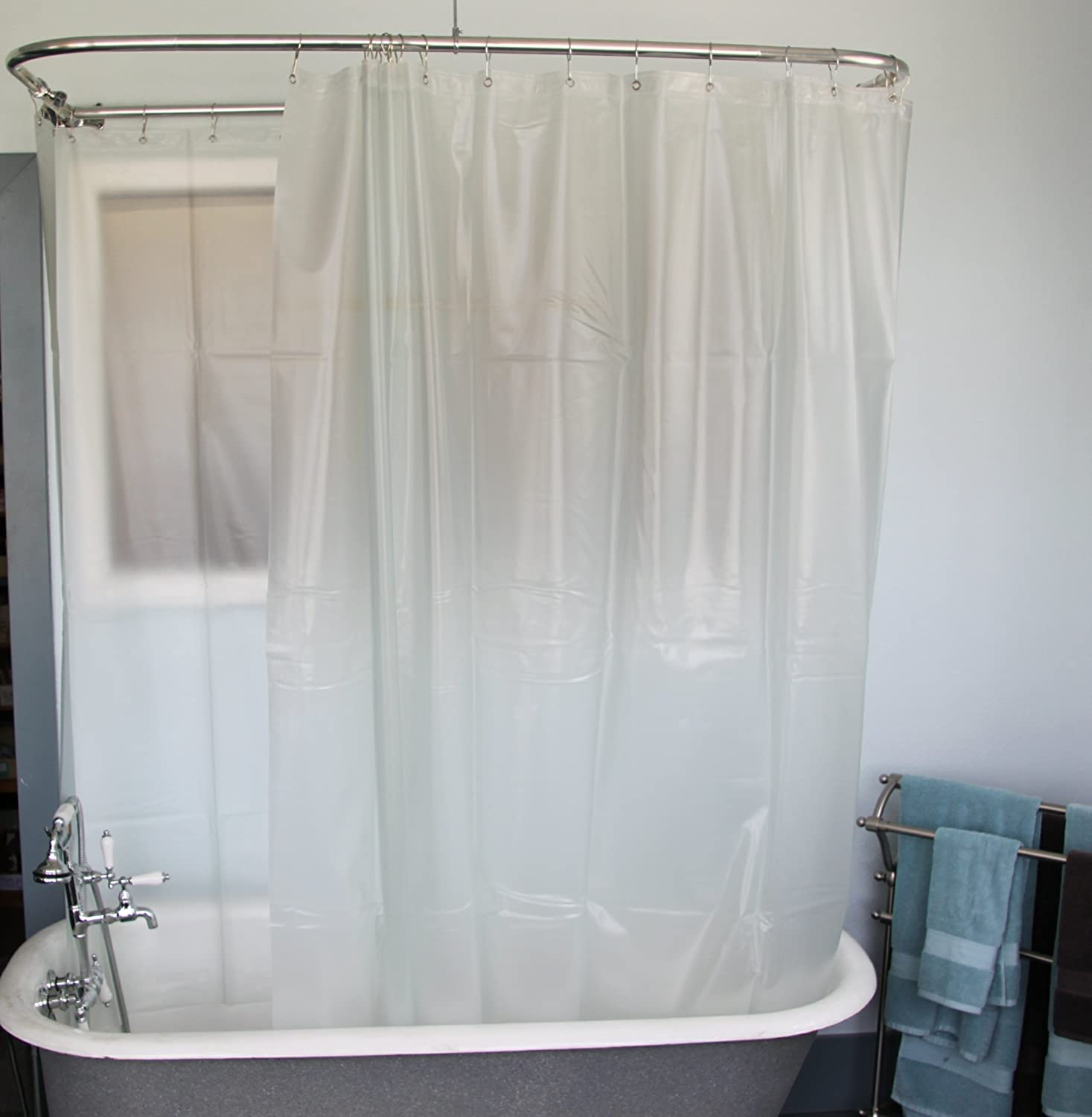 Transparent cloth shower curtain - Amazon Com Extra Wide Vinyl Shower Curtain For A Clawfoot Tub Opaque With Magnets 180 X 70 Home Kitchen