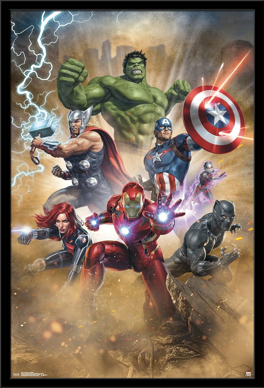 """Trends International MCU Marvel Cinematic Universe: Avengers: Fantastic, 22.375"""" x 34"""", Black Framed Version"""