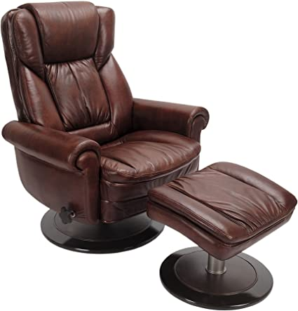 Peachy Serta Cr 43503 Top Grain Leather Recliner With Ottoman Rich Brown Pdpeps Interior Chair Design Pdpepsorg