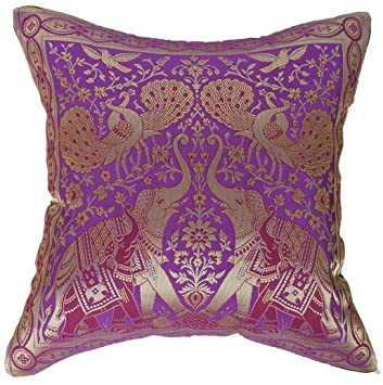 Amazon Artiwa Traditional Indian Elephants Embroidered Violet Awesome Indian Silk Decorative Pillows