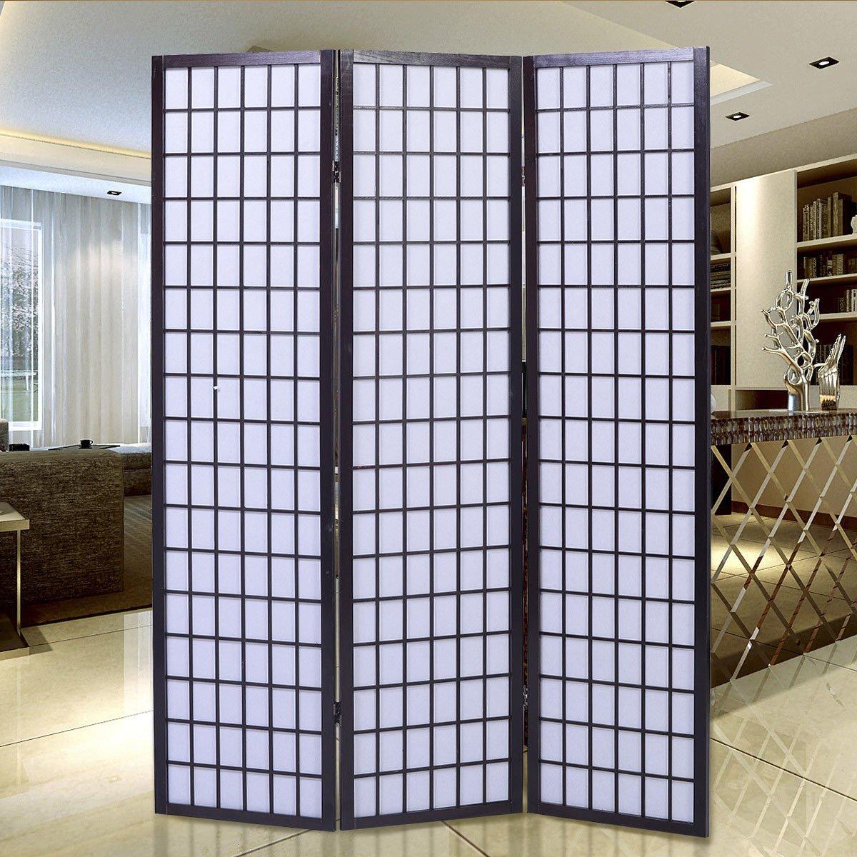 Giantex 3-Panel Room Divider Solid Shoji Wood Folding Privacy Screen Black HW56691BK