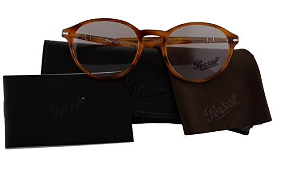 381cbc666c Persol Authentic Eyeglasses PO3162V Stripped Brown w Clear Demo Lens 960 PO  3162-V (50mm)  Amazon.co.uk  Clothing