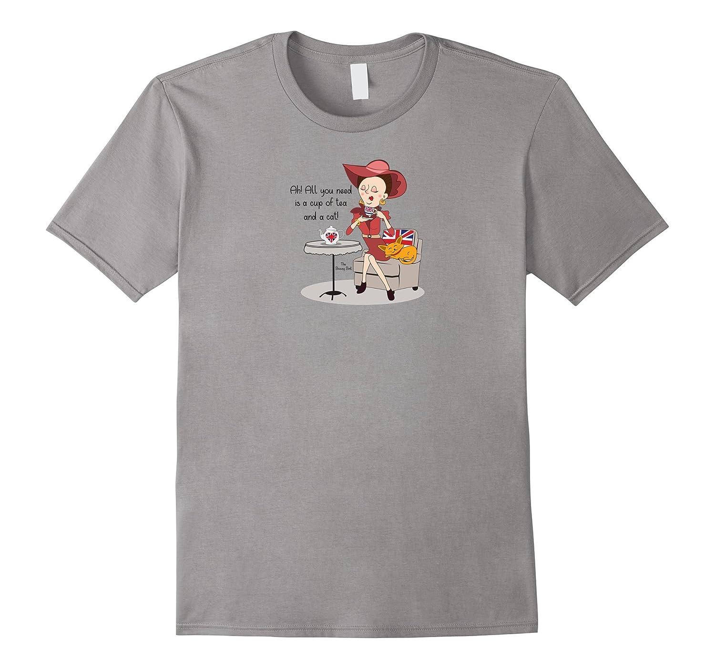 All You Need is A Cup of Tea And A Cat Fun UK Flag T-shirt-T-Shirt