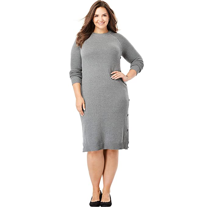 Woman Within Plus Size Side-Button Sweater Dress at Amazon Women\'s ...