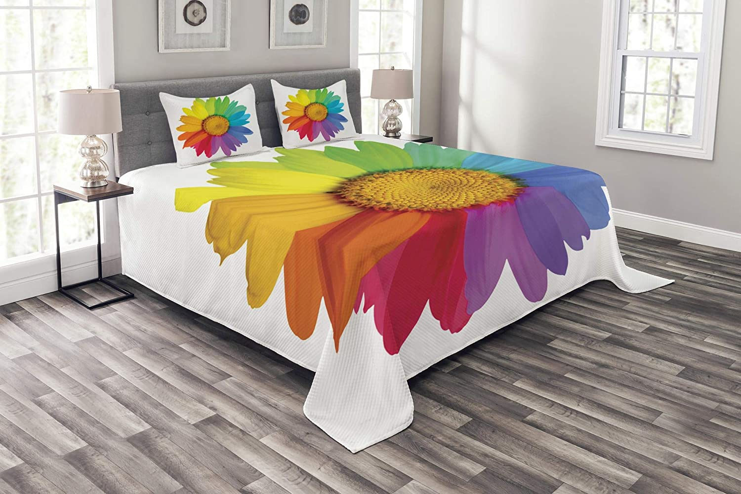 Ambesonne Flower Bedspread, Rainbow Colored Sunflower or Daisy Spring Inspired Image Hippie Style Modern Design, Decorative Quilted 3 Piece Coverlet Set with 2 Pillow Shams, Queen Size, Rainbow Colors