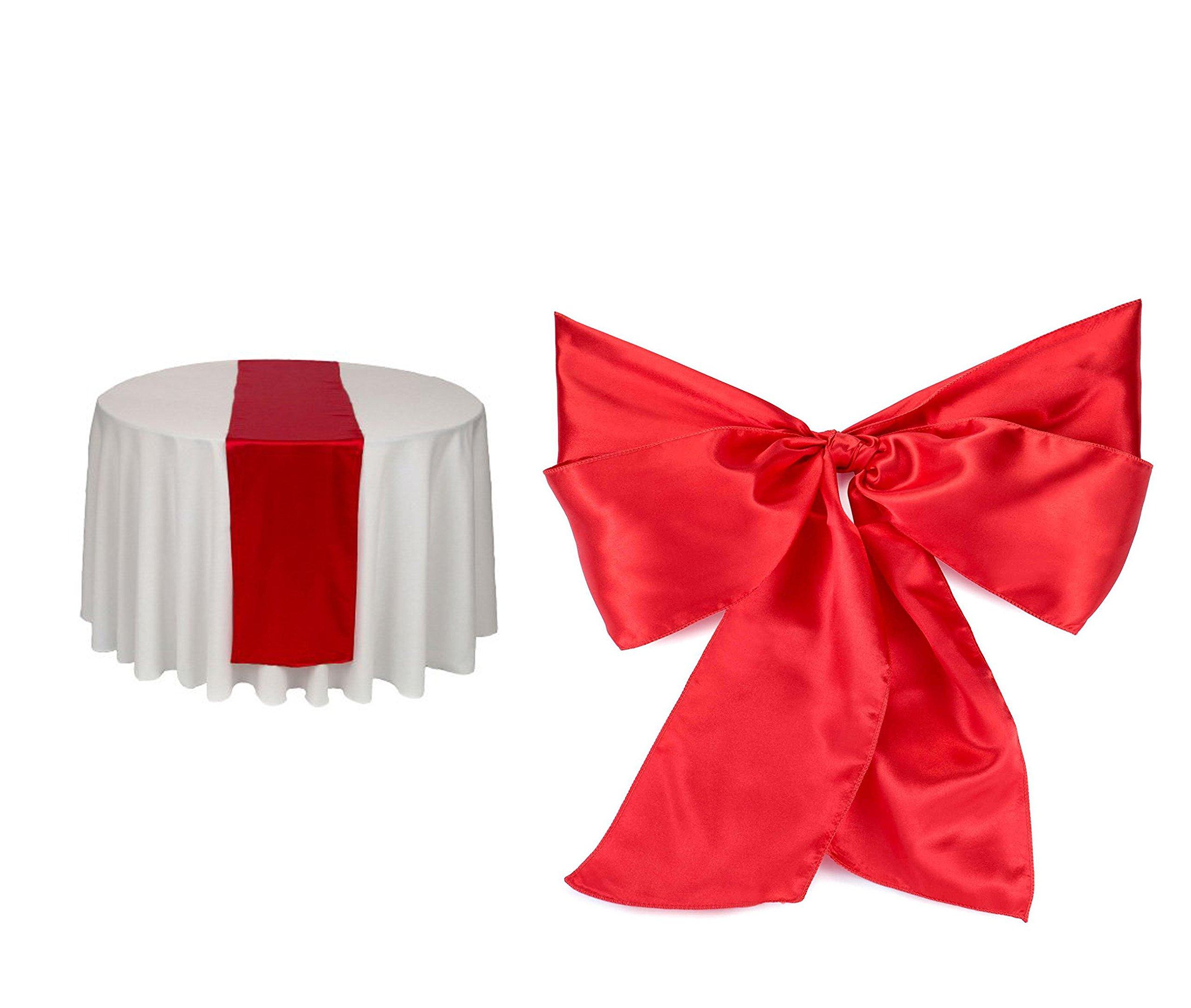 Elina Home RED Satin 2 Table Runner & 10 Combo of TableRunner & Chair Bow Sash for Wedding
