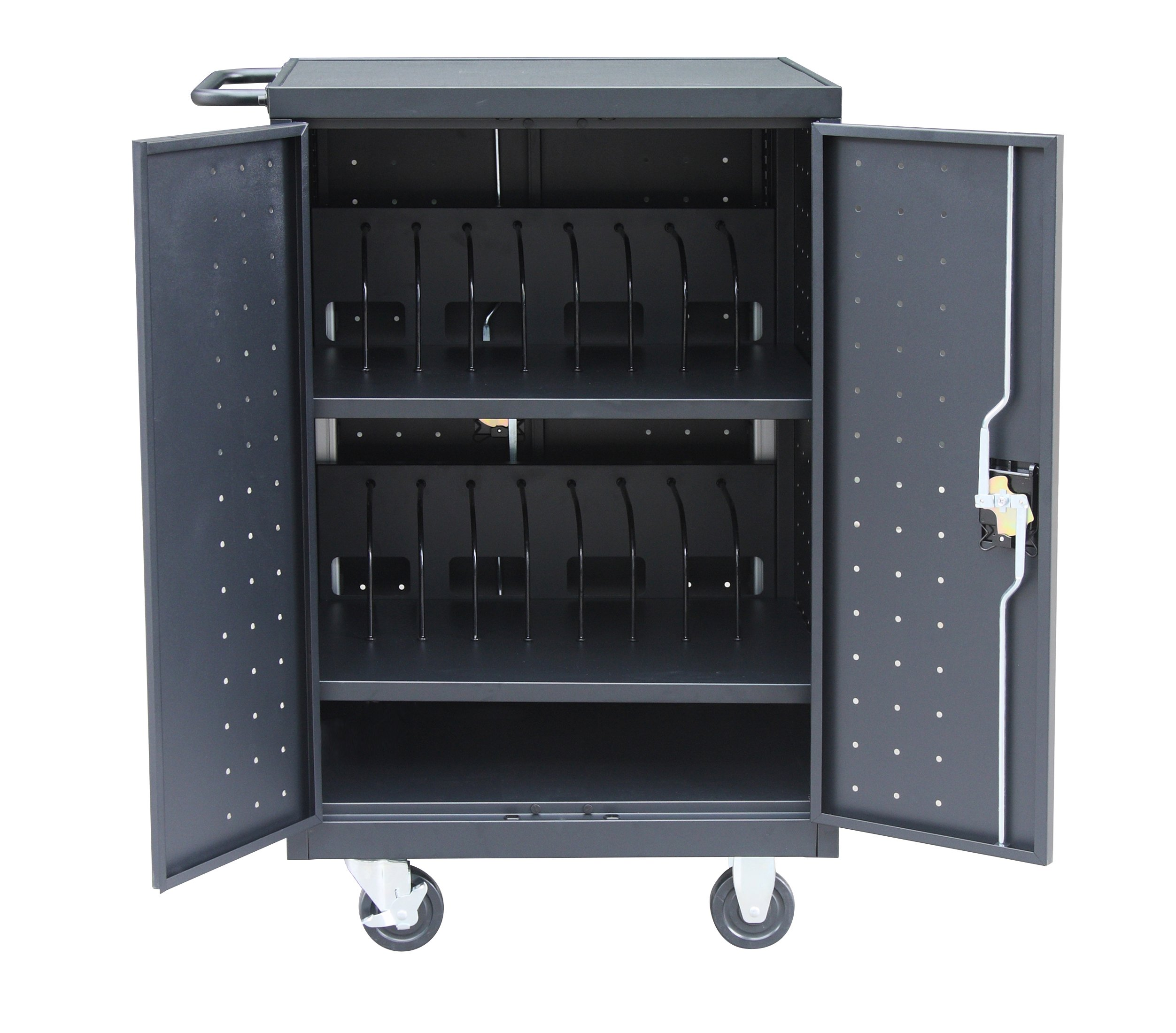 Pearington 18TABLET-01 18 Bay Tablet and Computer Charging Cart, 40'' Height, 21'' Wide, 25.7'' Length, Black