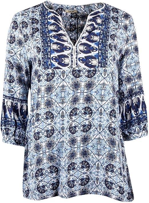 DDP Haut imprimé Bleu Femme: : Vêtements et accessoires