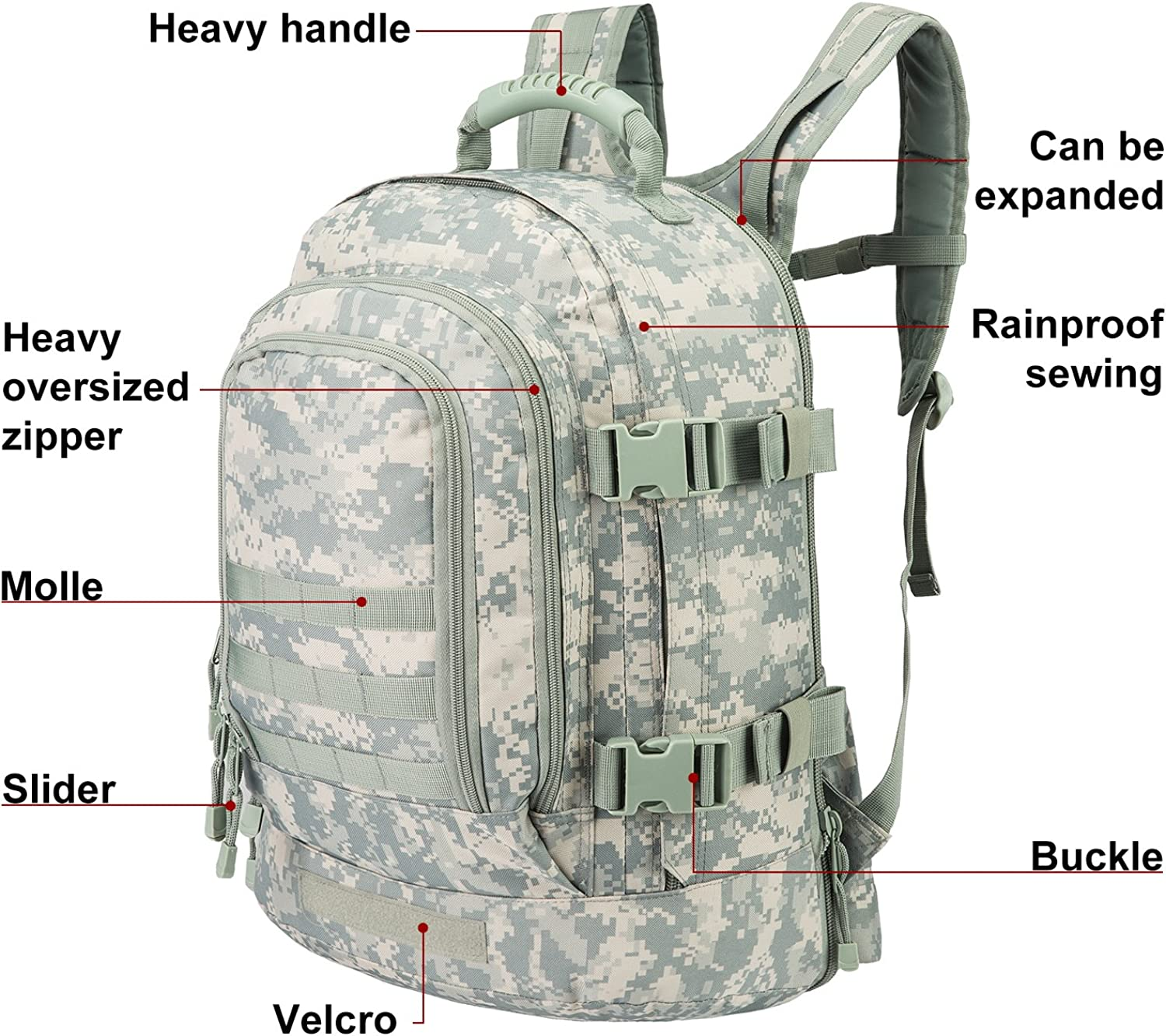 ANONE Camouflage High Capacity Backpack For Outdoor Hiking Lightweight Packable Durable Travel Backpack 55L L,Gray