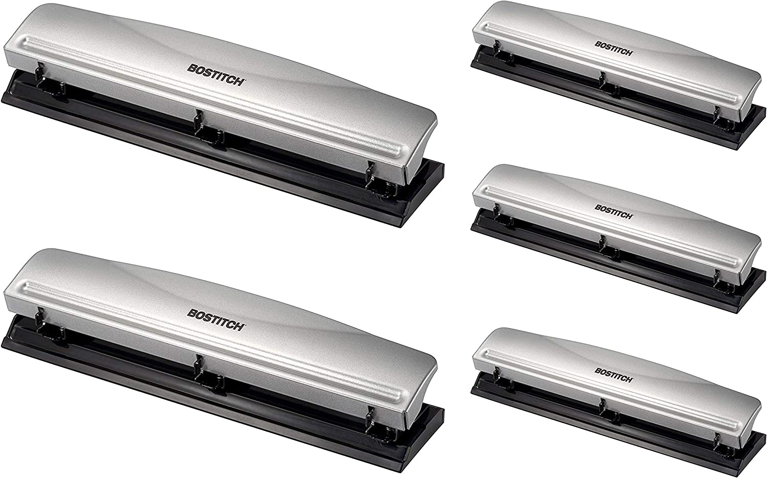 Bostitch Office HP12 3 Hole Punch 1-Pack 12 Sheet Capacity Metal,Silver